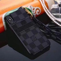 LV Louis Vuitton Trending Women Men Classic Pattern iPhone Phone Cover Case For iphone 6 6s 6plus 6s-plus 7 7plus 8 8plus iphone X Black Plaid I