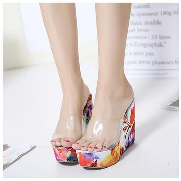 Summer Wedge Sandals Women Transparent Jelly Shoe