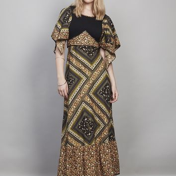 Vintage 70's black floral maxi dress - Dresses - Womens Vintage | Retro & Vintage Clothes UK