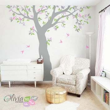 Large tree wall decal with birds and leaves