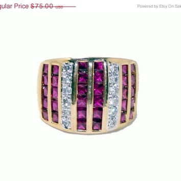 Ruby Cigar Band Ring - 925 Sterling with Gold Overlay Wide Modernist Design