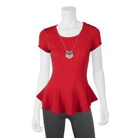 IZ Byer California Textured Peplum Top - Juniors, Size: