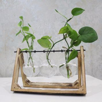 Vintage Style Glass Tabletop Plant Bonsai Flower Wedding Decorative Vase