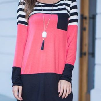 Pink Stripe Long Sleeve Shirt Dress