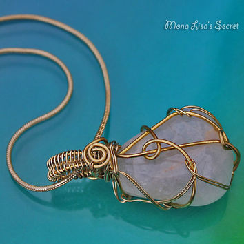 Wire Wrapped Gemstone Pendant, Very Light Green Aventurine Stone Wire Wrapped with Brass Wire, Green Aventurine Pendant