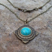 Framed Turquoise Cabochon Pendant Necklace - cable chain necklace - rustic boho