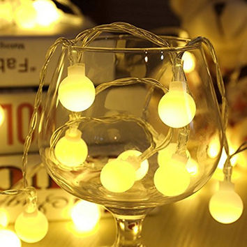 Outdoor String Lights LED Warm White Crystal Ball Christmas Globle Lights for Garden Path, Party, Bedroom Decoration(100 LED 33ft/10m)