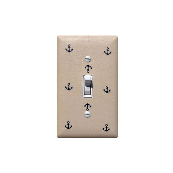 Anchor Light Switch Plate / Nautical Nursery Decor / Baby Boy / Bathroom / Light Coffee Natural Tan and Navy Blue