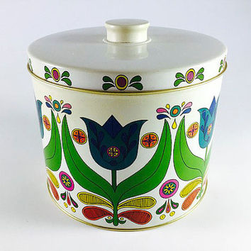Vintage Bisquick Tin Kitchen Canister With Recipes Dutch Tulip Mod Design Kitchen Storage Blue Green Red Yellow Flower Kitsch Kitchen Decor