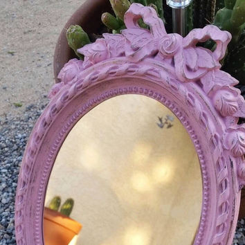 Shabby Chic Bathroom Mirror Ornate Wall Mirror Distressed Pink Wall Decor