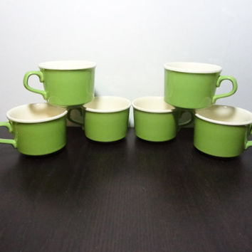 Vintage Retro Lime Green Ceramic Coffee/Tea Cups - Set of 6 - Mid Century Modern