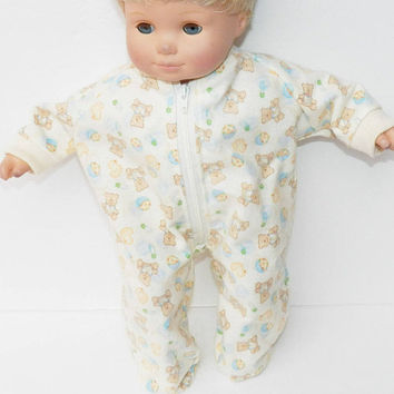"bitty baby clothes, boy, girl or 15"" twin doll, pajamas pjs sleeper- yellow teddy bear flannel, zip up feet handmade by adorabledolldesigns"