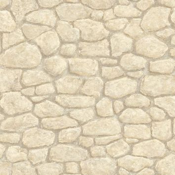 Brewster Wallpaper HTM49435 Gretel Cream Boundary Stone Wall