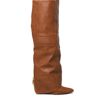 Knee High Foldover Covered Wedge Boots - Cognac