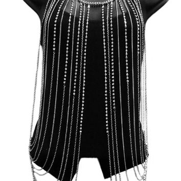 Silvertone with Clear Iced Out Vest Style with Stones Body Chain