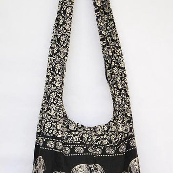 YAAMSTORE black elephant hobo bag sling shoulder crossbody hippie boho purse