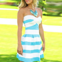 Stripe Bandeau Mini Skater Dress