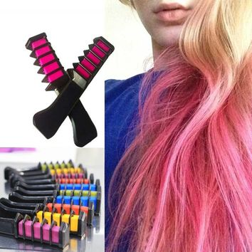 2017 New Semi Permanent Hair Color Chalk Powder with Comb High Quality Temporary Blue Hair Mascara Multicolor Dye
