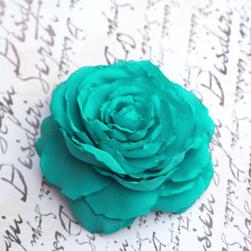 Turquoise Hair Accessory, Floral Hair Clip, Turquoise Hair Flower, Aqua Hair Flower, Blue Hair Piece, Turquoise Flower Brooch