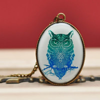Emerald Green Owl Pendant Antique Brass Resin Necklace, Resin Jewelry