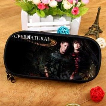 Supernatural Demon Hunter Boys Girls Cartoon Pencil Case Bag School Pouches Children Student Pen Bag Kids Purse Wallet Gifts
