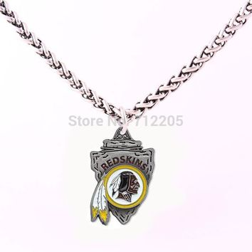Washington Redskins Enamel chain necklace 10pcs a lot Wheat Link Bracelet Chain with Large Clasp football necklace