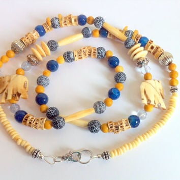 Elephant Gemstone Beaded Necklace Hand Carved Bone Elephants Ivory Looking Elephant Jewelry Necklace Blue Yellow Ivory Long Necklace