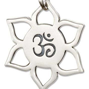 Sterling Silver Om Or Ohm Symbol In Lotus Flower Charm
