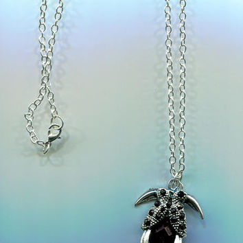 black toucan bird NECKLACE black necklace silver necklace bird pendant silver chain animal jewelry animal necklace nature necklace