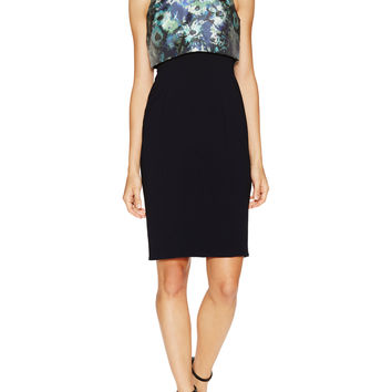 Theia Women's Floral Cropped Overlay Short Dress - Blue -