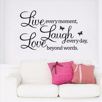 Creative English Text Live Laugh Love Removable Sofa Background Art Wall Stickers Home Decoration For Living Room Kid Room Bedro