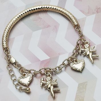 Gold Layered Women Angel Charm Bracelet, by Folks Jewelry