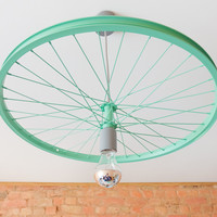 Bike wheel pendant lamp