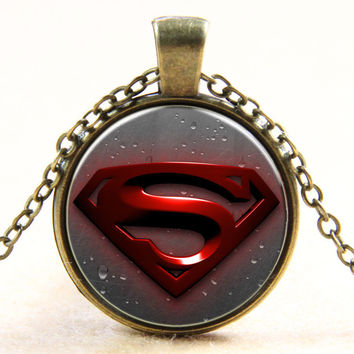 Shiny New Arrival Stylish Gift Jewelry Superman Gemstone Pendant Glass Hot Sale Sweater Chain Necklace [6256249862]