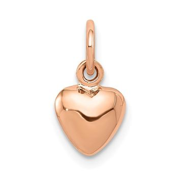 14k Rose Gold Puffed Heart Charm or Pendant, 7mm (1/4 inch)