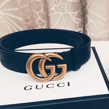 GUCCI Fashion Chic GG Pearl Smooth Buckle Leather Belt