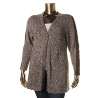 Style & Co. Womens Knit Faux Suede Trim Cardigan Sweater