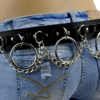 Leather Belt with Hanging Chains and O Rings Size Large Black