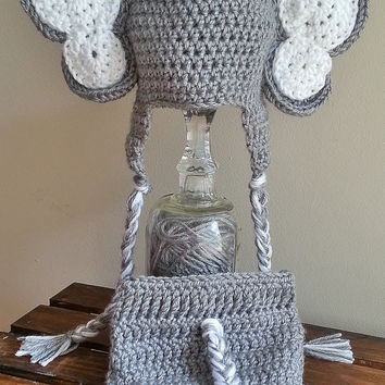 Crochet Baby Elephant Hat and Diaper Cover