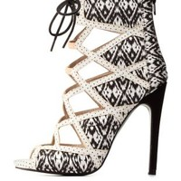 Black/White Qupid Lace-Up Caged Printed Peep Toe Heels