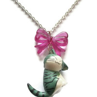 Kawaii Necklace Cute Cat With Bow by KitschBitchJewellery on Etsy