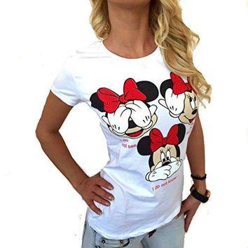 "Womens 'Mickey Mouse""( See No Evil , Hear No Evil , Speak No Evil) White T-Shirt / Top (china sizing - runs small)"