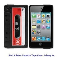 Black/Red Silicone Cassette Tape Case for Apple iPod Touch 4 4th Generation