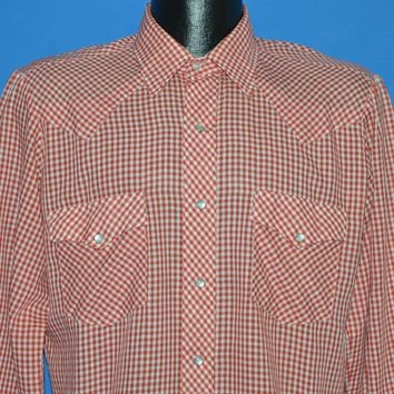 80s Western Fashions Red White Gingham Pearl Snap shirt Large