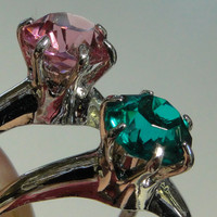 On SALE Clark and Coombs Two CZ Gem Stone Rings Daughter Rings Sisters Twins Gift Idea