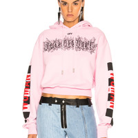 OFF-WHITE Taxi Cropped Hoodie in Pink & Black | FWRD