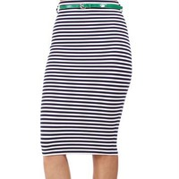 Pre-Order: Ink/Ivory Stripe Belted Pencil Skirt