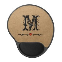 Sweethearts and Arrows Monogram Gel Mouse Pad