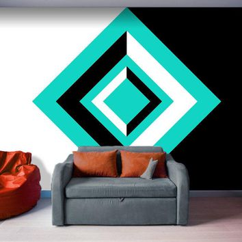 Teal, Black, and White Geometric Shapes - Peel and Stick Removable Wallpaper Full Size Wall Mural