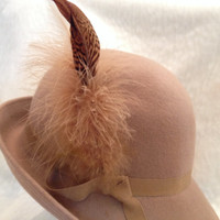Stunning Feathered Tan Womens Hat 40s 1940s